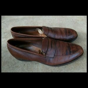 ALLEN EDMONDS Hamilton Brown Leather Loafers 14B